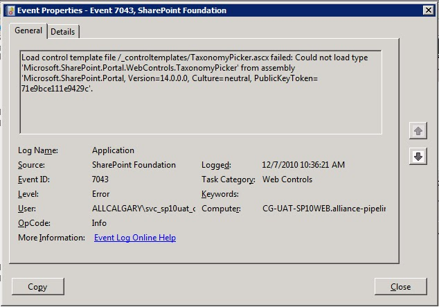 Imperfect IT: SharePoint 2010 Event ID 7043