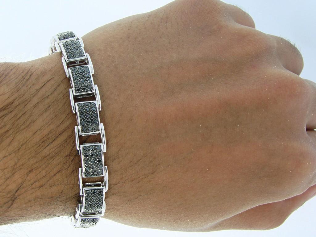 New York Jewels Mens Full Black 12 Mm Diamond Bracelet