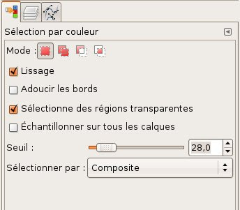 gimp menu selection couleur