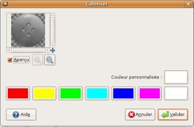 Digiscrap Gimp menu coloriser