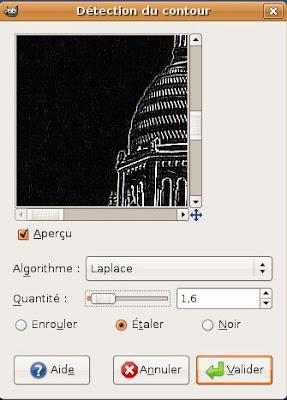 gimp filtre detection contour bord