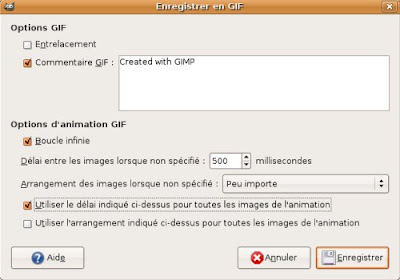 gimp enregistrement fichier animation