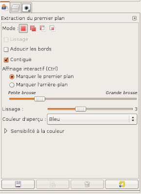 option outil extraction detourage gimp
