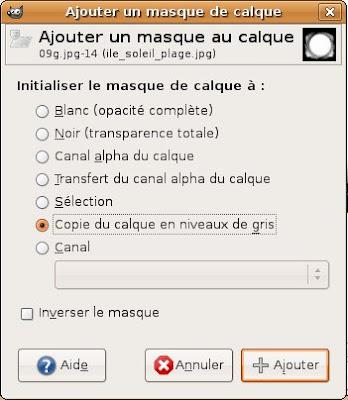 application masque calque gimp