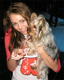 Hannah Montana star Miley Cyrus with per pooch