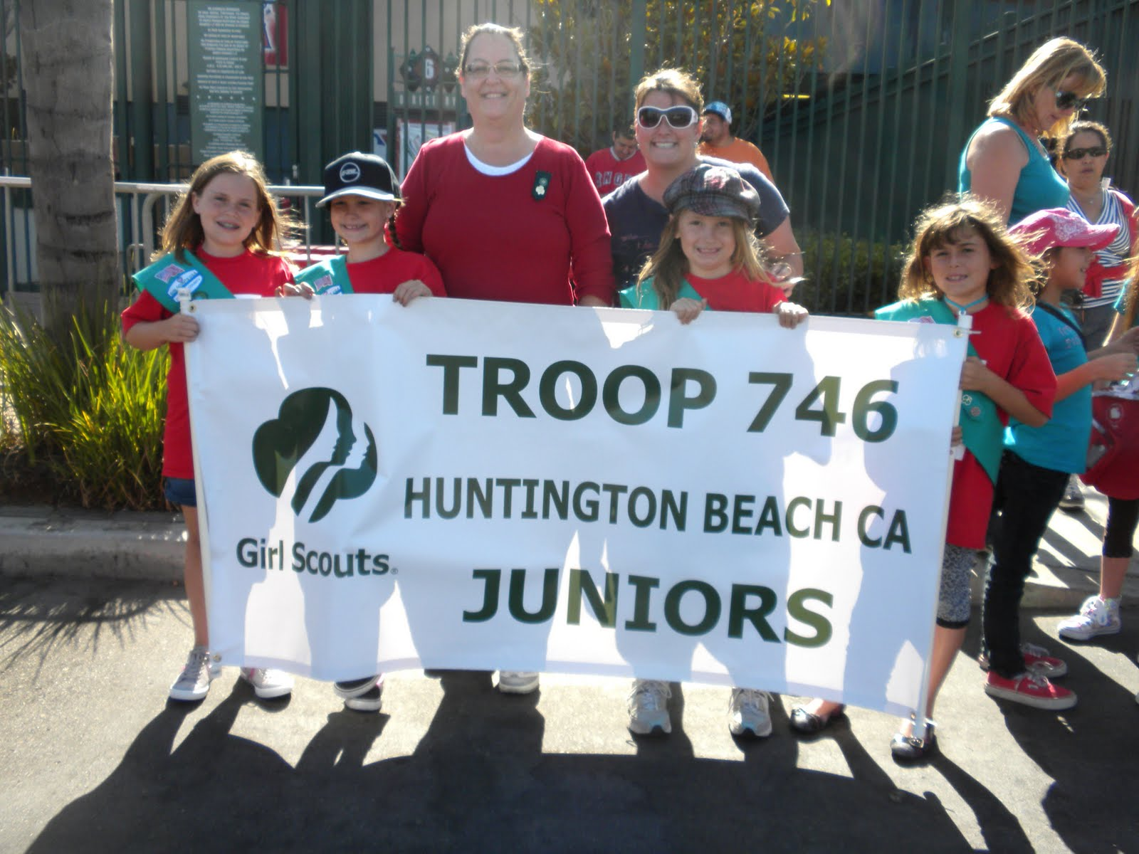 HUNTINGTON BEACH GIRL SCOUT TROOP 746: ANGEL GAME and BANNER