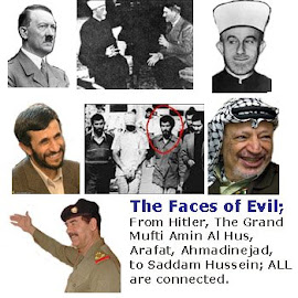 Faces of Evil, Hitler, Grand Mufti of Jerusalem Amin al-Husseini, Yasser Arafat, Saddam Hussein, Mahmoud Ahmadinejad, Osama Bin Laden