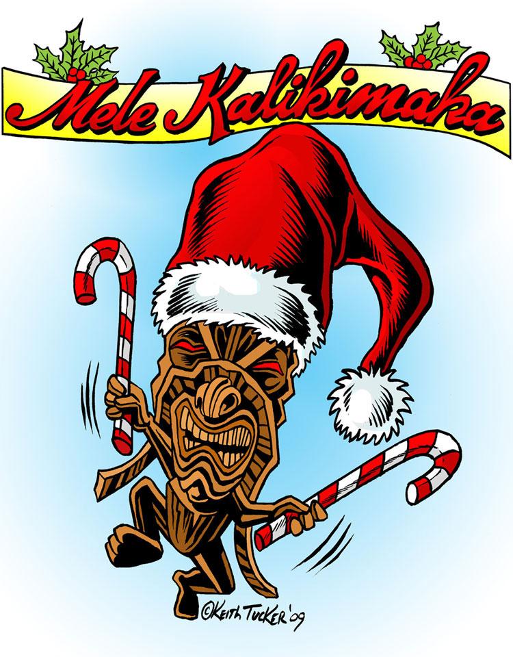 Hawaiian Merry Christmas.Hula Girls And Tiki Gods Mele Kalikimaka Merry