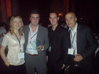 Chris Bishop and the Commission Junction team with his Outstanding individual contribution to affiliate marketing award