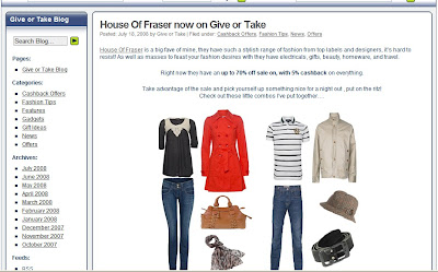 Affiliate Site Review - Give or Take, new House of Fraser affiliate Give or Take annoucement to their user base and taking advantage of the House of Fraser sale