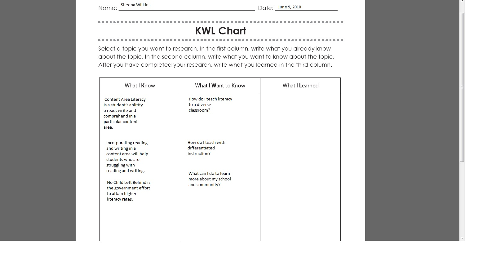 Kwl Chart For Math Example Homeschoolingforfree