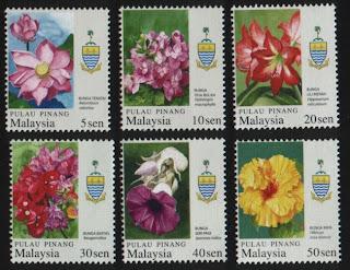 Pulau Pinang Garden Flowers Stamps