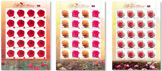 Malaysia Roses Stamps Sheet