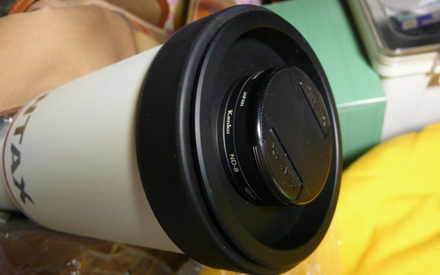Pentax 75SDHF,  換成了有49mm濾鏡牙鏡頭蓋,可加上濾鏡