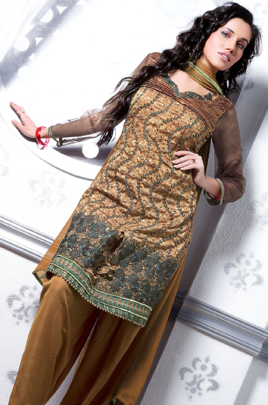 2ef0f7a2ca This Brown Color Crepe Jacquard Salwar kameez is beautifully enhanced with  sequins, resham, kasab, beads and patch work. Mustard color crepe silk  salwar and ...