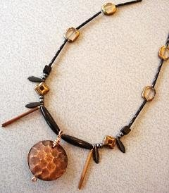Hammered copper disc pendant necklace the beading gem 39 s for Hammered copper jewelry tutorial