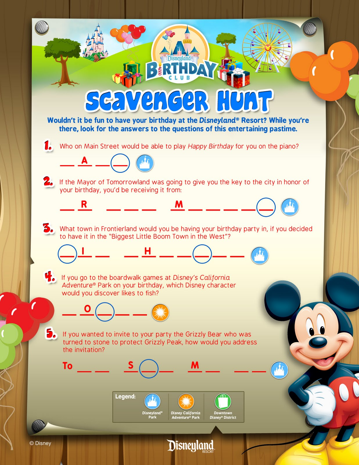 Mouse House Musings Disneyland S Birthday Club Scavenger