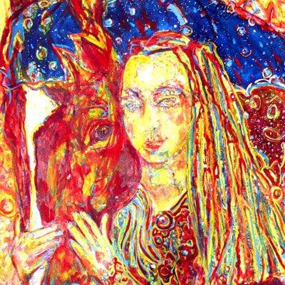 """Autoportrait/ détail da ma peinture monumentale """"Hello le cheval magique"""""""