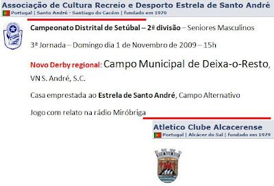 Futebol  Novo derby - 2ª divisão de Setúbal - ESA Vs Alcacerense b644434e11359