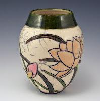 Lotus Garden, Raku Vessel, Anne Webb