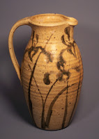 Anne Webb Stoneware Pottery Pitcher with Stylized Iris Design, 2004