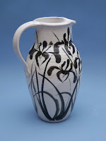 Anne Webb Pottery Stoneware Pitcher with Stylized Iris Brushwork Design