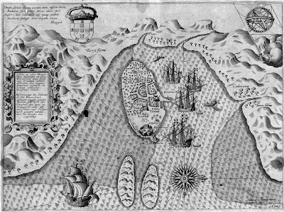 1596 map of island adjacent to Mozambique