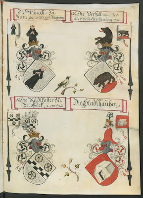 coloured armorial shields