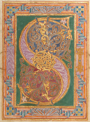 illuminated manuscript from germany (letter S)