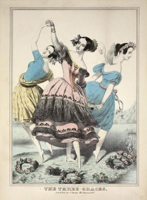 The Three Graces - coloured dance illustration