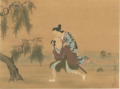 Silk painting - ukioye, Youth carrying a Lady