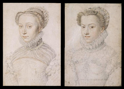 François Clouet sketches of Elizabeth of Austria and Elizabeth of France