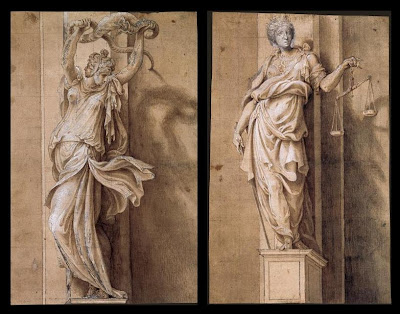 Giulio Campi drawings - La Prudence and La Justice