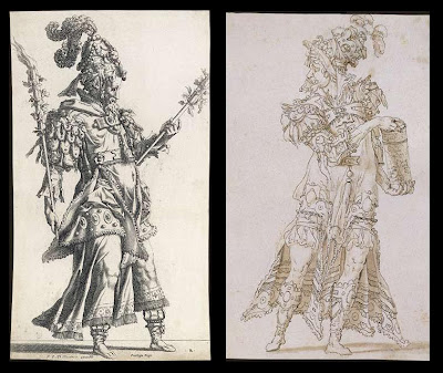 2 sketches by René Boyvin - torch carrier and masquerade figures