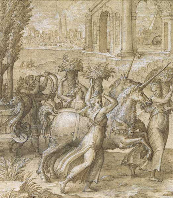 Nicolo dell'Abate sketch - The Unicorn Chariot (detail)