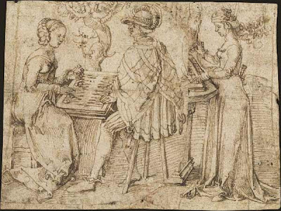 Sketch by Albrecht Dürer of checker players