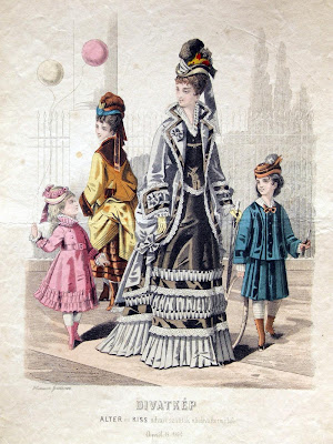 2 women 2 children - 1870s Budapest fashion