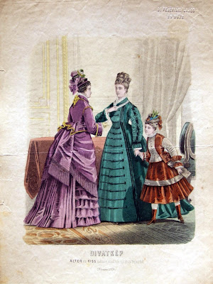 2 women and child - fashion 1870s