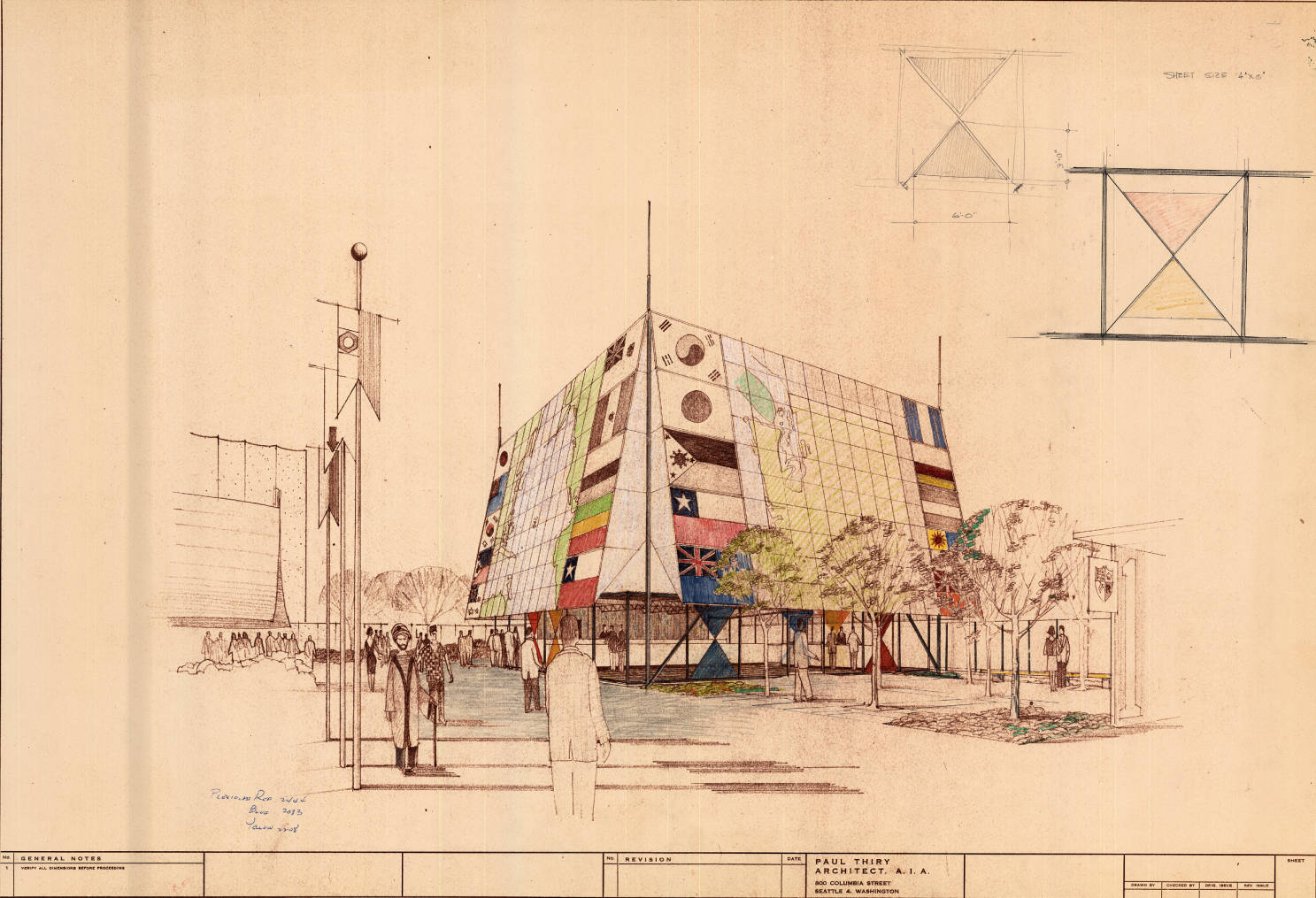 Seattle First National Bank - design plan of canvas awning
