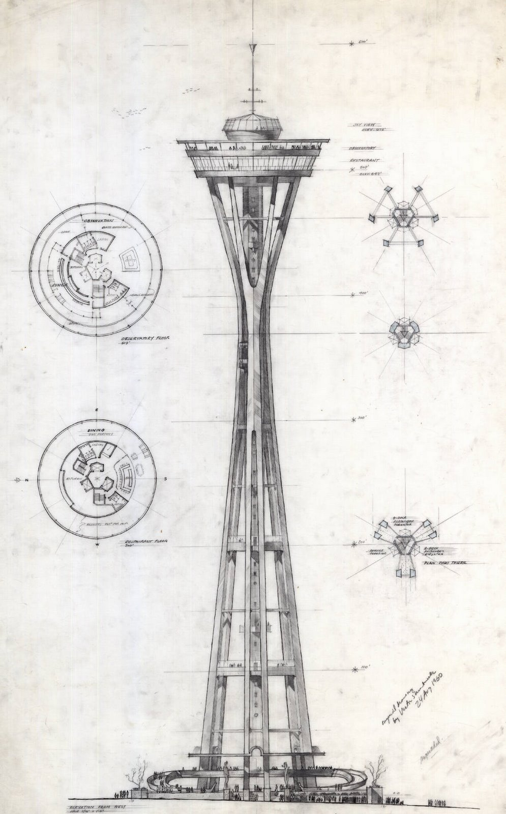 design for the Space Needle, west elevation and floor plans