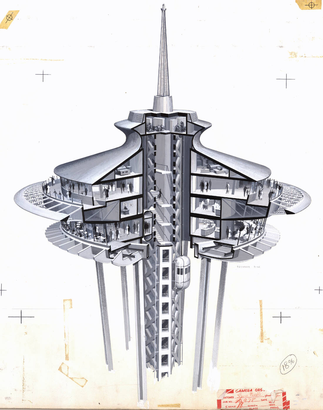 Seattle space needle summit cutaway