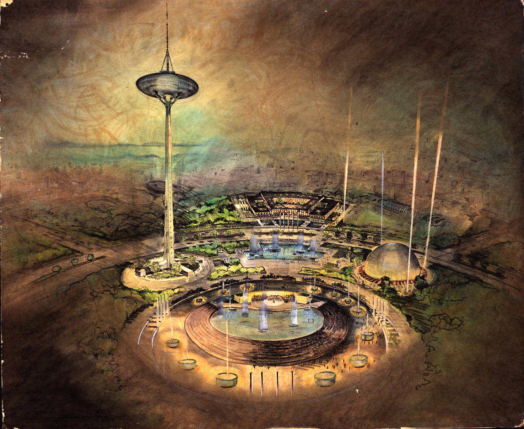 Century 21 exposition - proposed design for the Space Needle and grounds, rendering