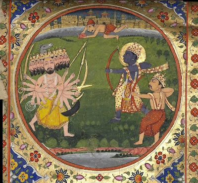 Bhagavata Purana depicted in silk and paper scroll