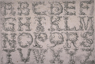 Alphabet of roman capital letters with metaphorical ornaments