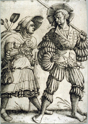 Etching of soldier and woman - 16th century