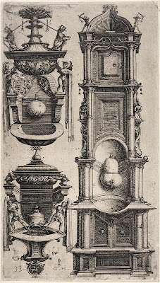 Etching of 3 designs for a fountain - Daniel Hopfer