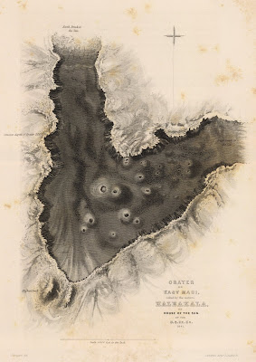 1845 United States Exploring Expedition - East Maui Crater map 1845
