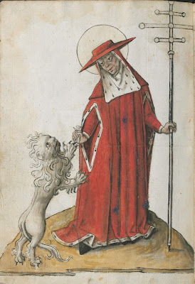 medieval Dutch bible - priest with lion