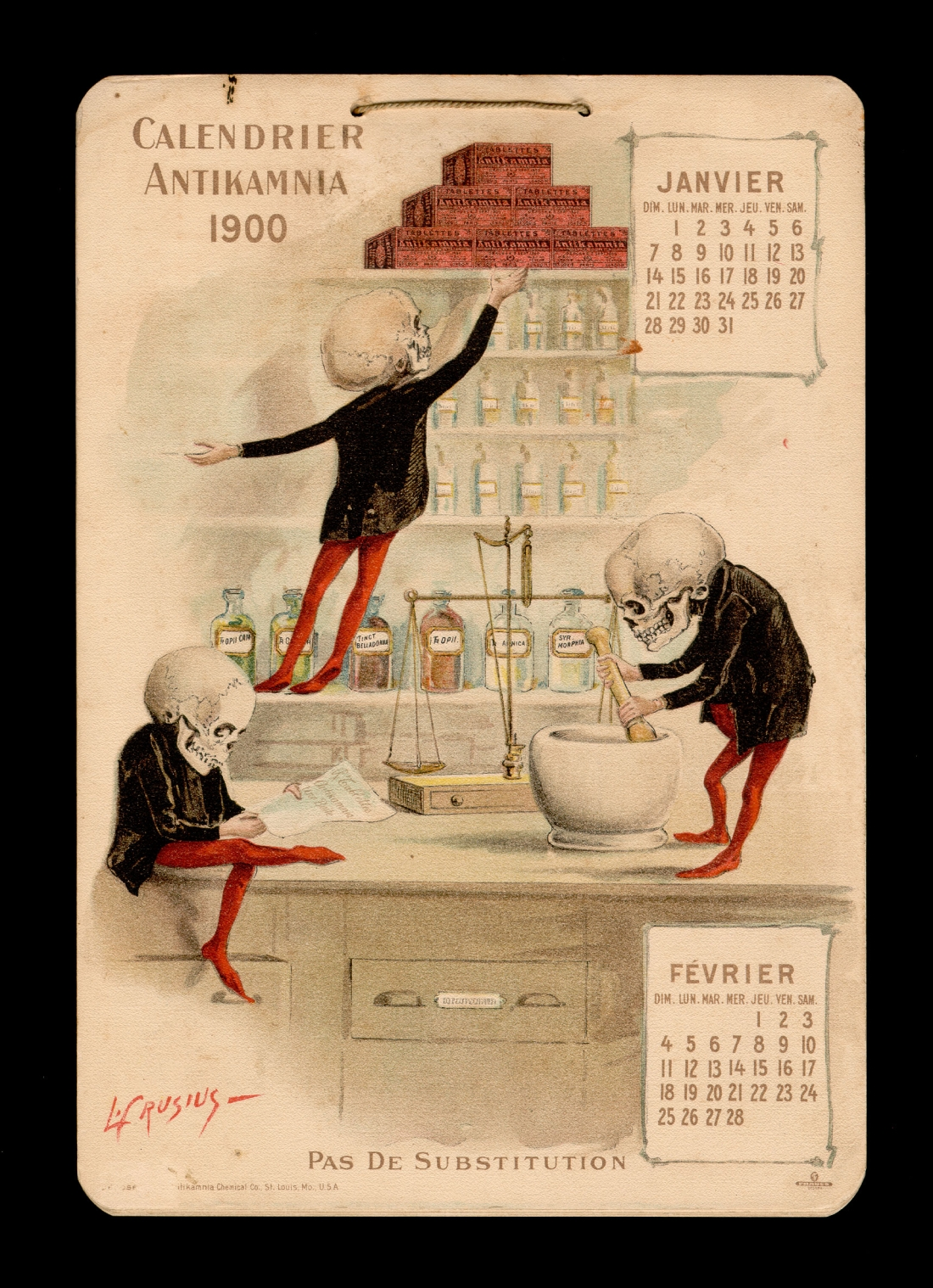 Antikamnia calendar 1900 - french