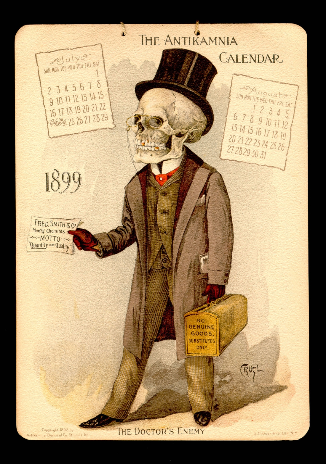 1899 antikamnia medical calendar